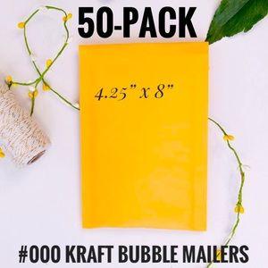50-Pack Kraft #000 4.25x8 Padded Bubble Envelopes